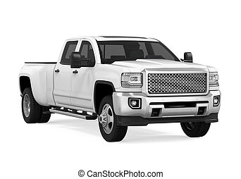 White Pickup Truck Isolated - White Pickup Truck isolated on...