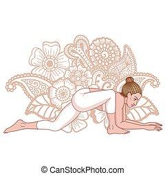 yoga, postura, pristhasana, lagarto, utthan, silueta,...