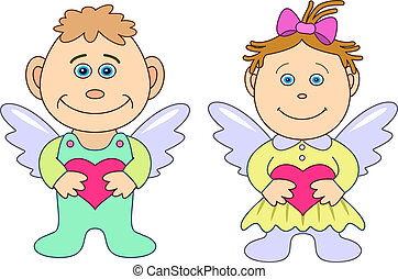 Girl and boy angels with hearts. Picture about love and...