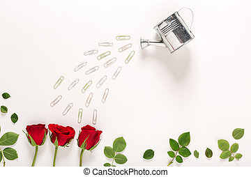 Rose blossoms and watering can craft image