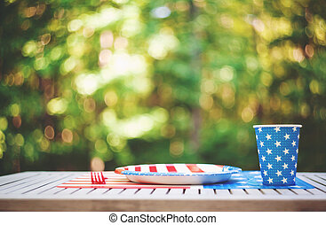 Fourth of July party table setting outside