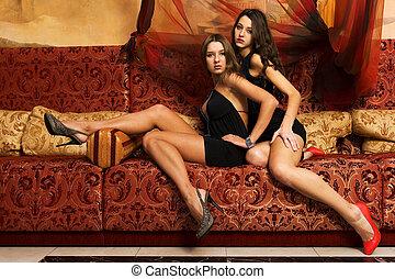 mulheres, oriente, Interior