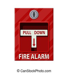Fire alarm system. Fire equipment. Vector illustration in...