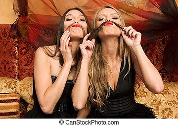 Have fun - Two beautiful women are having fun