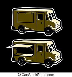 Food truck template . Two options. Vector illustration