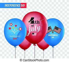 Holiday balloons isolated on transparent background. 4th of July. National celebration. Independence Day. Vector set of holiday balloons. Realistic mockup.