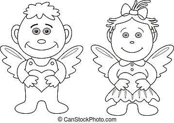 Girl and boy angels with hearts, contours