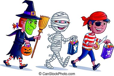 Trick or Treating Kids - Cartoon of three kids dressed up in...