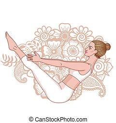 Women silhouette. Boat yoga pose. Paripurna Navasana Vector...