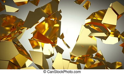 Golden wall shatter as financial crisis or decline concept. slow motion