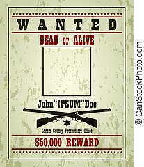 Retro Wanted Poster Template - Wanted dead or alive western...