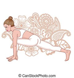 Women silhouette. The Equestrian yoga pose. Ashwa...