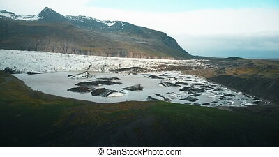 Beautiful landscape of the lake with ice in Iceland. Copter...