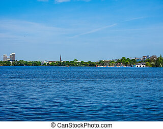 Aussenalster (Outer Alster lake) in Hamburg hdr -...