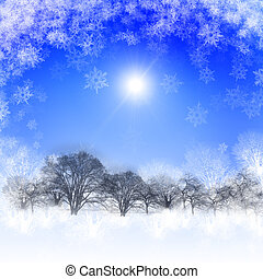 Abstract background with blue skies and sunshine. Christmas...