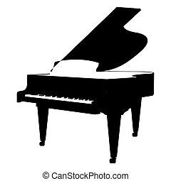 鋼琴, 黑色半面畫像, 被隔离