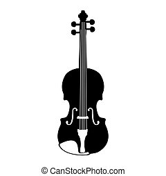 Isolated violin silhouette