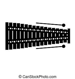 Isolated xylophone silhouette - Isolated silhouette of a...
