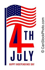 Happy Independence Day - July 4th USA - Memorial Day - Flag...