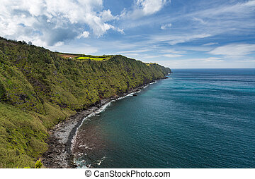 Coast and cliffs near Nordeste on the island of Sao Miguel....