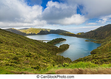Lake of Fire (Lagoa do Fogo) in the crater of the volcano...