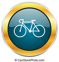 Bicycle blue glossy round icon with golden chrome metallic...