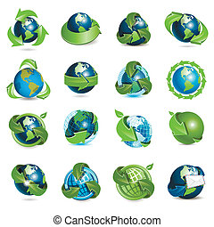 icons globe and arrows - sixteen icons of the globe on white...