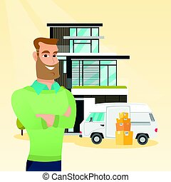 Young caucasian man moving to a house. - Cheerful man moving...