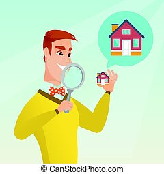Young caucasian man looking for a house. - Young caucasian...