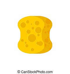 Sponge yellow for washing isolated on white background