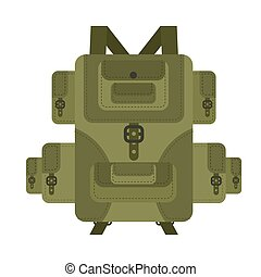 Military backpack green isolated. Soldier briefcase. Army...