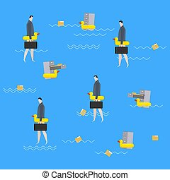 Businessman in pool. Corporate rest of company. Managers are swimming. Inflatable duck. Card file.