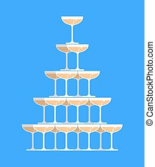 Glass of champagne tower. Alcohol in glass belfry. Wine...