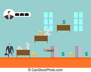 Business game play. Businessman in office. Card index and...
