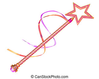 Fairy wand - Isolated illustration of a pink and gold fairy...