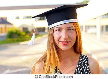 Happy graduating student - Gorgeous happy young woman...