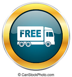Free delivery blue glossy round icon with golden chrome...