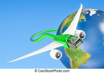 Lan cable with airplane wings, fast internet connection concept. 3D rendering
