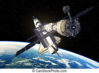 Space Shuttle And Space Station Over The Earth