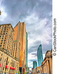 Front street in Toronto, Canada - Buildings on Front street...