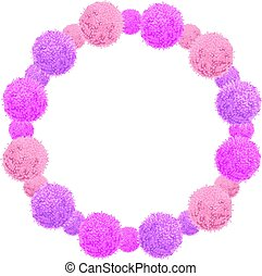 Vector Pink Baby Girl Birthday Wreath Party Pom Poms Circle...