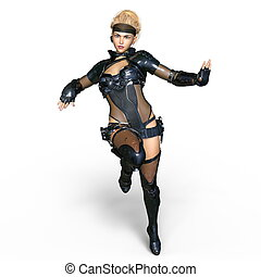 Female warrior - 3D CG rendering of a female warrior. The...