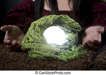 Close Up of Psychic or Fortune Tellers Crystal Ball -...