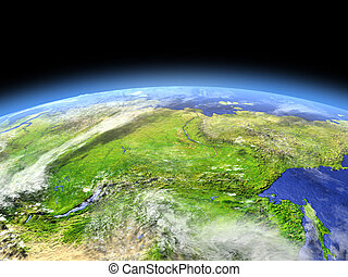 Siberia from space - Siberia as seen from earth's orbit in...