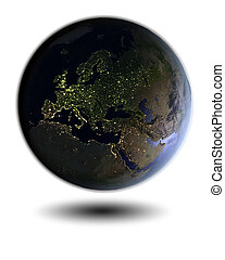 Europe on night globe - Model of Earth at night facing...