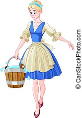 Cinderella Holds a Bucket - Illustration of Cinderella holds...