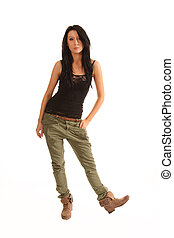 Bothered - Nonchalent looking black haired teenage model