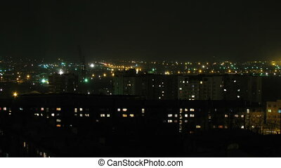 HD Time lapse of the night town in Russian province