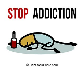Stop addiction, Alcohol, Conceptual vector illustration.