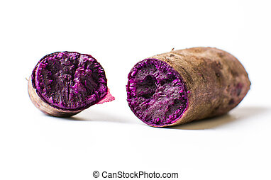 Cooked purple potato isolated on white background